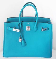Hermes Birkin Bag 35cm Turquoise Blue Tote Phw   MALLERIES
