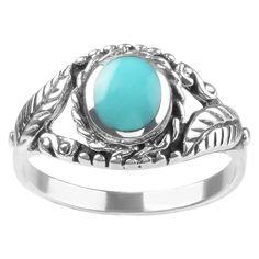 7/8 CT. T.W. Oval-cut Turquoise Leaf Design Bezel Set Ring in Sterling Silver - Blue, 7, Women's