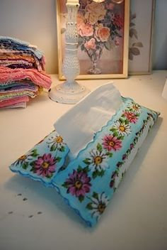 BAD LINK - don't link but this is a great  vintage handkerchief tissue holder idea