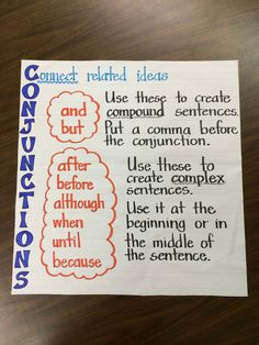 anchor charts for conjunctions - Google Search