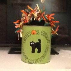Halloween paint can candy holder