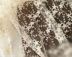 ivory lace fabric with retro floral vine by WeddingbySophie