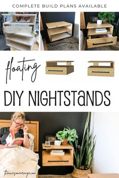 DIY Floating Nightstands with a storage drawer! Complete build plans are available! #diy #nightstands #woodworking #floating Diy Furniture Building, Furniture Fix, Diy Furniture Plans, Diy Furniture Projects, Woodworking Projects Diy, Bedroom Furniture, Modern Furniture, Diy Projects, Diy Nightstand