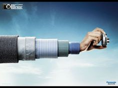 The Print Ad titled Telescopic arm - MAN was done by Fischer America Sao Paulo advertising agency for product: Lumix (brand: Lumix) in Brazil. Creative Advertising, Ads Creative, Creative Posters, Print Advertising, Advertising Campaign, Marketing And Advertising, Photoshop, Great Ads, Guerilla Marketing