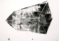"""Buy SGRAFFITO 424, """"MAGIC MOUNTAIN"""" 100x70 cm, a Ink on Paper by Michael Lentz from . It portrays: Abstract, relevant to: black, graffiti, monotype, drawing, abstract, ink black ink monotype on 170g DOREE paper, APRIL 2016. Monotype drawing used as a drawing technique creates the effect of a lithography.     But contrary to lithography, my drawings are strictly one of a kind,  100% original and unique copies: they are drawn without any optical devices (e.g. they are no flatly copied..."""