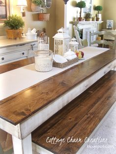 local, custom farmhouse tables...liking the bench idea more and more