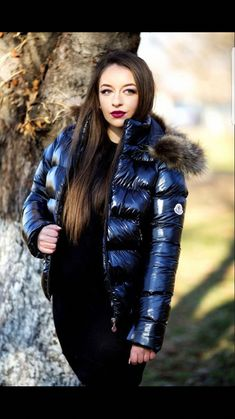 Hot babe shiny blue Down jacket puffa coat Nylons, Moncler, Cool Jackets, Jackets For Women, Fur Jackets, Black Raincoat, Down Suit, Down Puffer Coat, Puffy Jacket