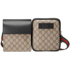Gucci Gg Supreme Belt Bag ($690) ❤ liked on Polyvore featuring bags, men, messenger bags, bum bags, belt pouch bag, waist pouch bag, gucci and leather messenger bag