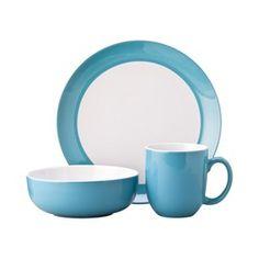 Target Teal Banded 12 pc. dinnerware set  sc 1 st  Pinterest & Room Essentials® 12 Piece Stoneware Dinnerware Set - Teal ...