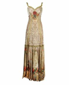 Floor-Length Special Occasion Dress Designed by Michal Negrin with Lace Like And Roses Pattern, Lace Trim Edge & Swarovski Crystals