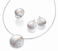 Silver with rose gold & white sapphire by Breuning, Germany. Head Jewelry, Jewelry Sets, Fine Jewelry, Jewellery Sketches, Jewelry Drawing, Gold And Silver Bracelets, Sterling Silver Jewelry, Silver Jewellery, Simple Jewelry