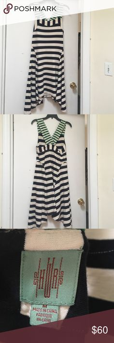 Anthropologie Striped Dress Size M Blue and white striped handkerchief hem dress from Anthropologie with green and white striped straps. Size M. Anthropologie Dresses