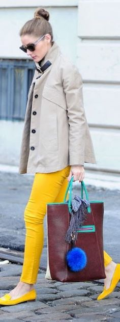 Who made Olivia Palermo's handbag and yellow loafers? Shoes – Stubbs Wootton  Purse = Berry Brown