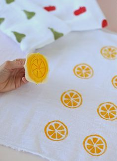 Pucker Up with 6 Citrus Crafts ⋆ Handmade Charlotte DIY Citrus Swaddle Blankets Diy And Crafts, Crafts For Kids, Arts And Crafts, Stamp Carving, Fabric Stamping, Handmade Stamps, Fruit Party, Party Party, Ideias Diy
