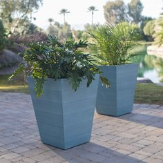 Belham Living Seacrest Cottage All Weather Resin Tapered Square Planter - Set of 2 - x x - Planters at Hayneedle Stone Planters, Tall Planters, Patio Planters, Tall White Planter, White Planters, Rectangular Planters, Square Planters, Planters Around Pool, Fiberglass Planters