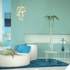 Contemporary Style Blue Living Room