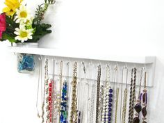 Jewelry Organizer with shelf and wall vase by HookedOnWoodwork