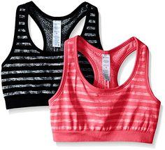 e4f7387b108c Jockey Womens 2 Pack Reversible Tonal Space Dye Seam Free Sport Bra  BlackStrawberry Pop Medium *