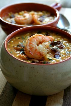 Sweet corn peppered bacon shrimp chowder.