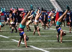 Teams stroll through Triple Deadlift in the Soccer Stadium at the 2016 Reebok CrossFit Games. #CFG10 - from The CrossFit Games (@CrossFitGames) | Twitter - July 22, 2016