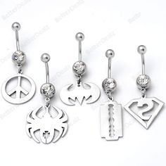 5pcs Stainless Steel Barbell Curved Belly Navel Ring Bars Body Piercing
