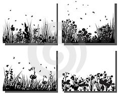 Grass silhouettes set- etching