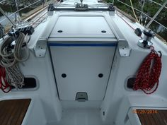 Outland Hatch Covers for the companionway.   Great idea and looks awesome.  www.outlandhatchcovers@gmail.com