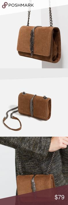 """ZARA Limited Edition 100% Leather Bag Beautiful leather bag with metal feather detail. Brand new with tags and dust bag. Lining with pocket. Magnetic fastening. 100% COW LEATHER. 4.7"""" x 6.7"""" x 1.6"""". Zara Bags Crossbody Bags"""