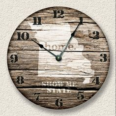 Hey, I found this really awesome Etsy listing at https://www.etsy.com/listing/222712604/missouri-home-state-wall-clock-barn