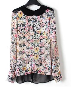 Pretty and feminine -#Floral Lapel Long Sleeve Chiffon Blouse