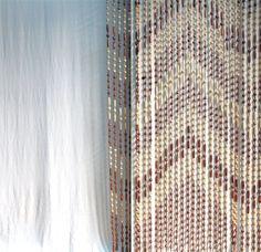 Vintage 1970s Chevron Wood Beaded Curtain / Boho Style