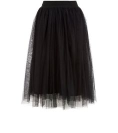 Black Tulle Pleated Midi Skirt  | New Look