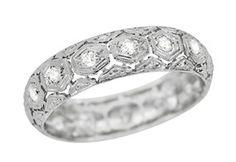 art nouveau mens wedding ring | Art Deco Diamond and Filigree Antique Wedding Band in Platinum - Size ...