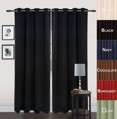 "AmazonSmile - Utopia Bedding Grommet Top Thermal Insulated Blackout Curtains, Set of 2 Panels, 8 Grommets / Rings per panel, 2 Tie Back incuded, Drop Curtain (Long), 52"" Width x 84"" Length, Reduces Heating and Cooling Costs, Blocks Light for a Restful Night's Sleep, Protects Rugs and Furniture from Fading (Olive) -"