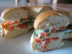 Lox and cucumber bagel sandwich #yum