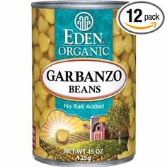 Eden Organic Garbanzo Beans, No Salt Added, 15-Ounce Cans (Pack of 12) $39.77