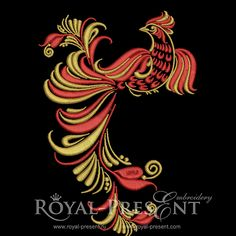 Machine Embroidery Design – Russian Traditional Red and Gold bird – Hohloma style | Royal Present Embroidery