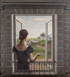 Paul Delvaux - La Fenêtre, 1936 oil on canvas Open Window, Window Art, Window Panes, Window View, Paul Delvaux, Father Images, Rene Magritte, Social Art, Looking Out The Window