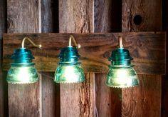 24 Vintage Insulator 3 Light Vanity by recreatedlighting on Etsy