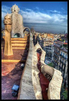 On the rooftop of Gaudi's Casa Mila [La Pedrera], Barcelona, Spain