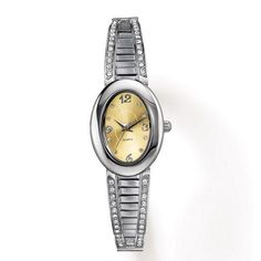 ONLY $14.99 each ... Silvertone watch with oval goldtone face on a rhinestone accented, half bangle expansion band.· Band: Expandable; one size fits most· Battery: Replaceable SR626SW· Movement: Quartz-PC21J· Imported Outlet Specials: (While Supplies Last!) Online Direct Delivery Orders due by 12 am on 12/12/14; order @: https://jenniferlayne.avonrepresentative.com/