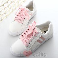 Kawaii simple pink stripes school shoes sport shoes lk17040705