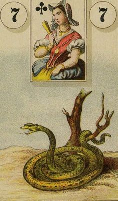 7 A Serpente / The Snake - The Lenormand Oracle by Marie Anne Adelaide… Fortune Cards, Fortune Telling Cards, Black Moon Lilith, Vintage Tarot Cards, Lily King, Jack Of Spades, Astro Tarot, Ace Of Hearts, Oracle Cards