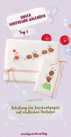 Make unique wrapping paper yourself-- Creative wrapping paper simply homemade: The Christmas wrapping paper with cute reindeer is super quick and easy to make. That makes packing and unpacking gifts much more fun. Click the link for instructions! Christmas Gift Wrapping, Christmas Crafts, Christmas Decorations, Reindeer Christmas, Teacher Christmas Card, Christmas Christmas, Unique Wrapping Paper, Wrapping Papers, Wrapping Gifts
