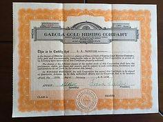 vintage 1932 GABOLA GOLD MINING COMPANY  STOCK CERTIFICATE ARIZONA - http://coins.goshoppins.com/stocks-bonds-scripophily/vintage-1932-gabola-gold-mining-company-stock-certificate-arizona/