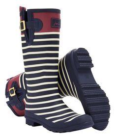 Another great find on #zulily! French Navy Stripe Wellyprint Rain Boot - Women #zulilyfinds