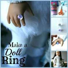 Super easy way to make a doll ring! Perfect for an American Girl doll American Girl Birthday, American Girl Parties, American Girl Crafts, American Doll Clothes, American Girls, Ag Doll Crafts, Diy Doll, Diy Crafts, American Girl Accessories