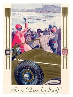 Dunlop Tyres, Vintage Art Deco Advert