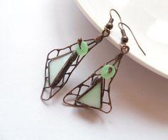Stained glass earrings light green beaded copper wire jewelry asymmetric funky. $30.00, via Etsy.
