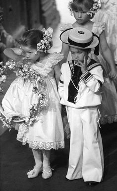 Prince William as a pageboy and Zara Philips as a flower girl for Prince Andrew and Sarah Ferguson's wedding, Westminister Abbey 1986